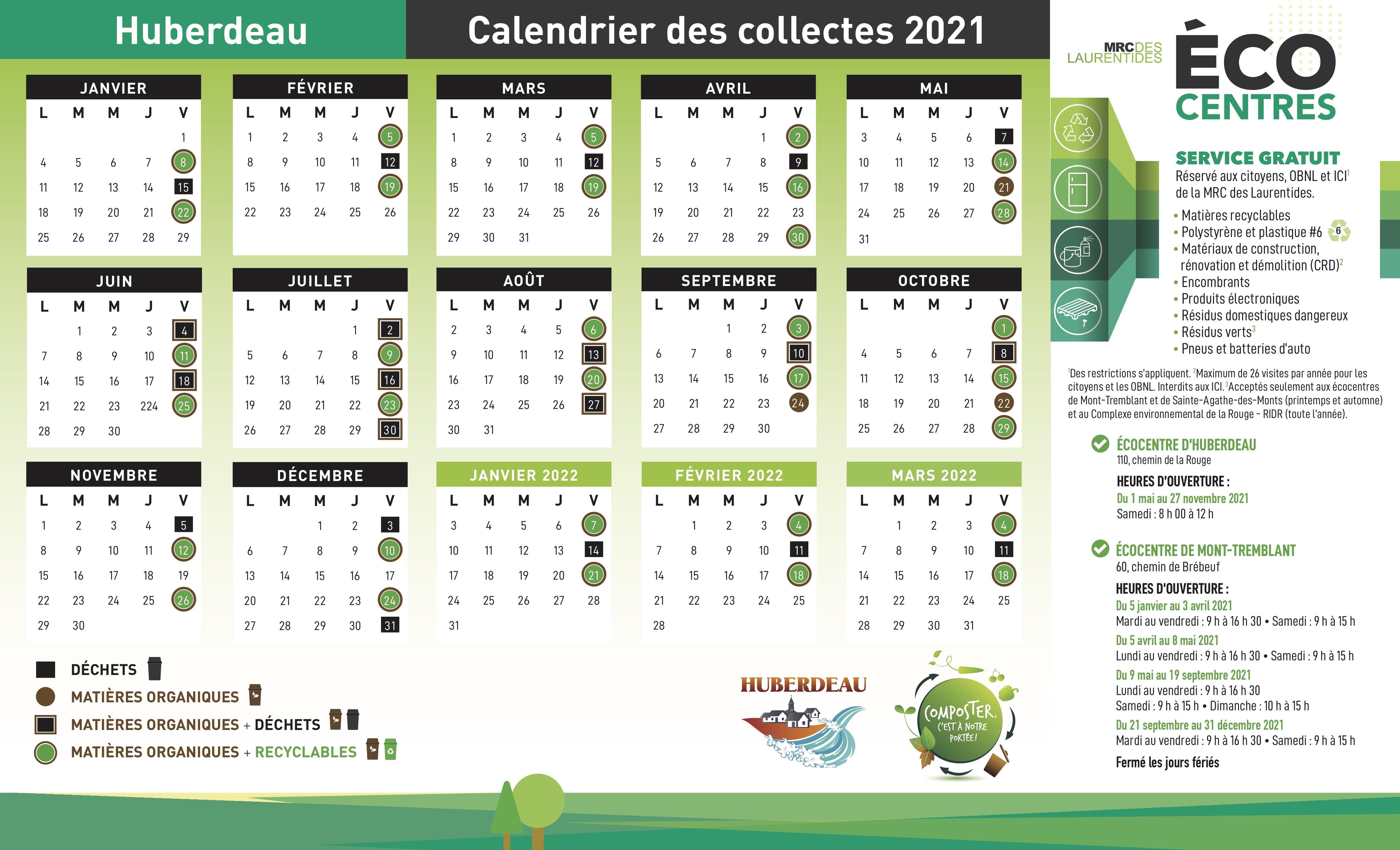 Calendrier Collecte Déchets 2022 Huberdeau   Déchets et recyclage